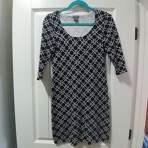 Ann Taylor navy blue patterned dress